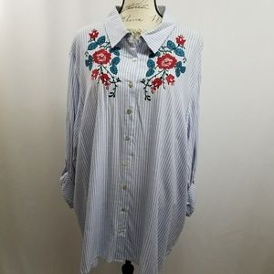 Honey Punch Plus Size Button Down Embroidered Top